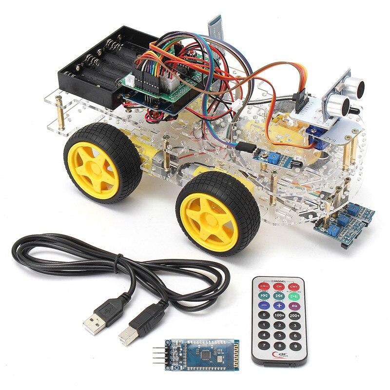 DIY Мини умный робот автомобиль 4WD обучение стартовый набор для Arduino робот образование программируемый робот + руководство + PDF (онлайн) + 5 прое...