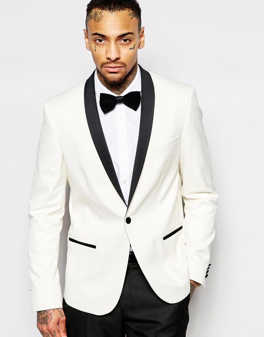 Online Shop Latest Coat Pant Designs Wedding Groom Men Suit Yellow White Tux Jacket