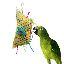 Pet Parrot Toys Straw Bamboo Strips Colorful Hanging Cage Play Bite Chew Toy Swing Decoration For Birds Parakeet Macaw Budgie
