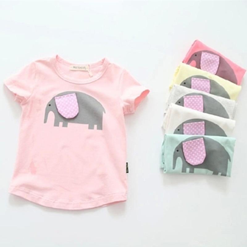 2016 New Summer Girls T Shirt Short Sleeve Kids T-shirt Cartoon Elephant Print Tee 100% Cotton Brand Tops 2-7Y