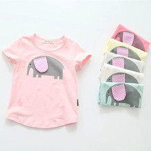 2016 New Summer Girls T Shirt Short Sleeve Kids T-shirt Cartoon Elephant Print Tee 100% Cotton Brand Kids T Shirt Kids Tops 2-7Y цена