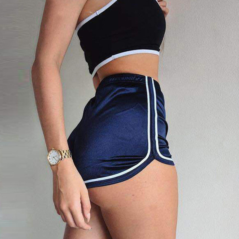 New 2019 Summer 7 Colors Women Fashion Silk Slim Elastic High Waist Shorts Sport Casual Shorts Beach Sexy Booty Hot F3
