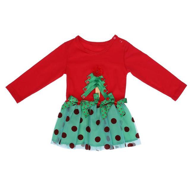 2017 autumn girls christmas party dress clothes cute dot print bowknot tutu dress for girl children