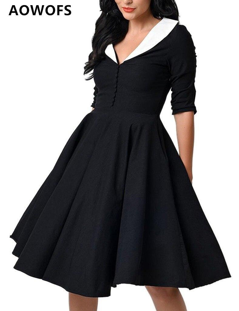 AOWOFS tenue décontractée femmes col en v couleur unie noir rouge bleu violet plus S-2XLTurn-down col élégant dame robe livraison directe