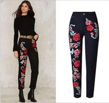 2017 Новые женские 3D роуз вышивки джинсы Высокой Талией Прямые Брюки Джинсовые Женские Сыпучие Повседневная Длинные Брюки