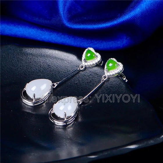 925 Sterling Silver Green White HeTian Jade Beads Inlay Heart Dropping Dangle Lucky Ear Earrings Girl's Charm Gift Jewelry 925 silver natural white white hetian jade beads inlay flower dangle lucky pendant necklace ring elegant woman s jewelry set