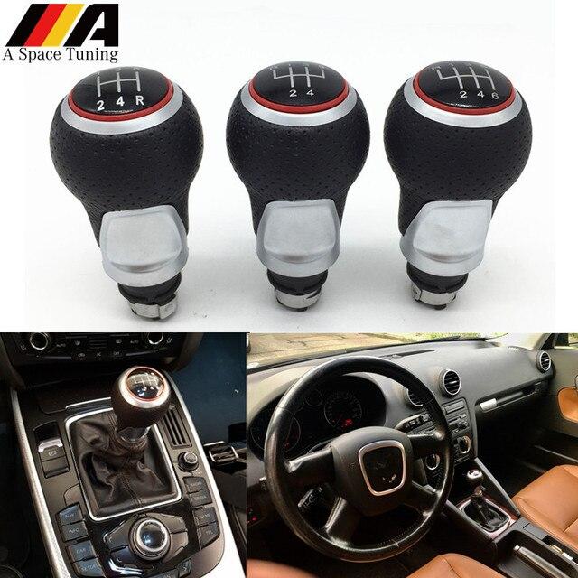 12mm 5/6 Speed Gear Knob Deslocamento Lever Vara Para Audi A4 B6 B7 B8 A6 S4 8 K A5 8 T Q5 8R S Linha Ibiza Seat Leon 6J Mk1 Passat Golf
