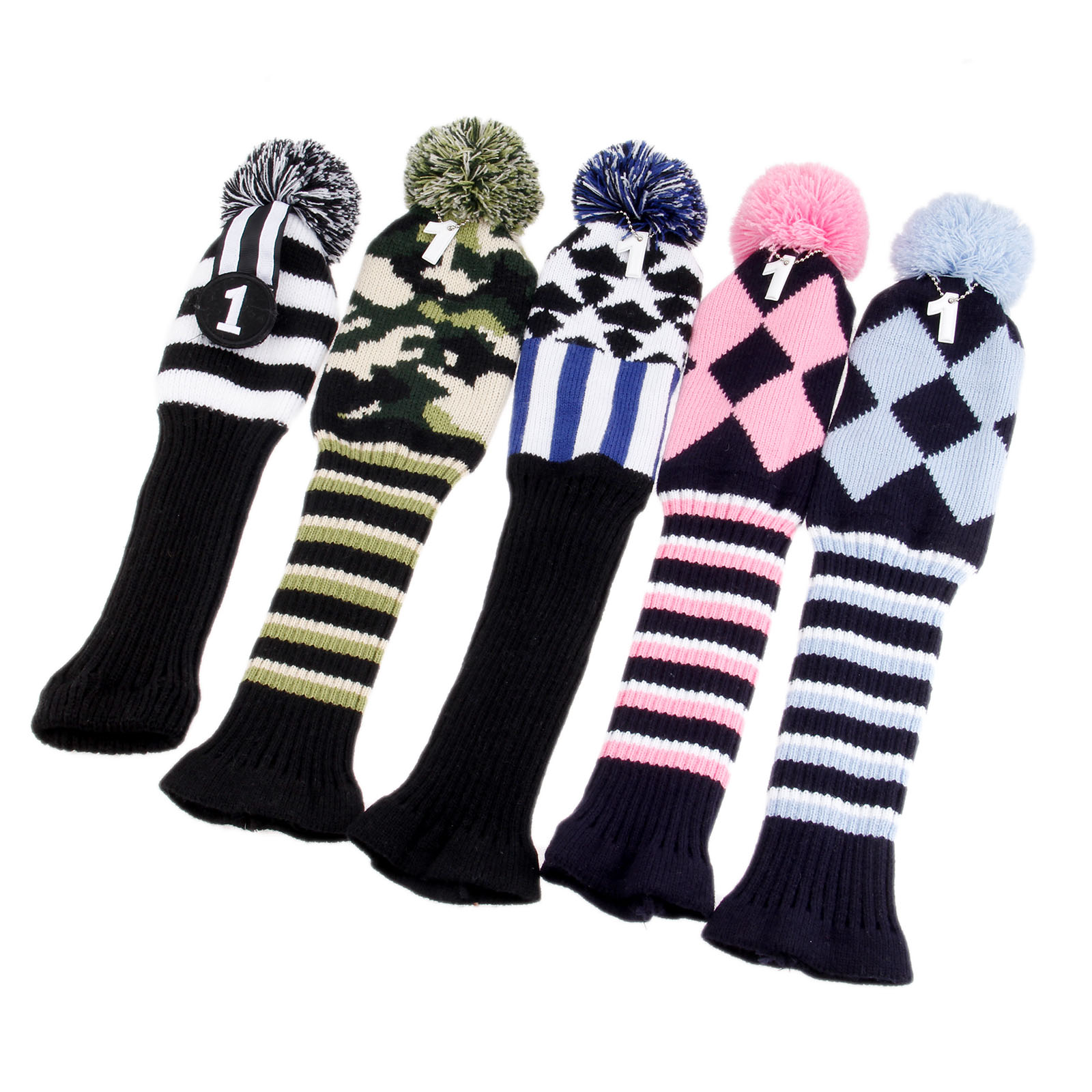 3 Pcs Set Pom Pom Golf Hybrid Club Head Covers Soft Wool Knitted