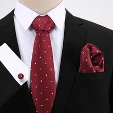 7.5 cm Tie Set Dot Ties Handkerchief And Cufflinks 2019 New Design Business Wedding Party Printing Neck Ties For Men