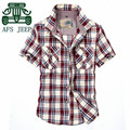 AFS JEEP Pure Cotton Plaid Style Men's Casual Short Sleeve Shirt Single Breast Man's Cargo Pockets Shirt ,Leisure Original Brand