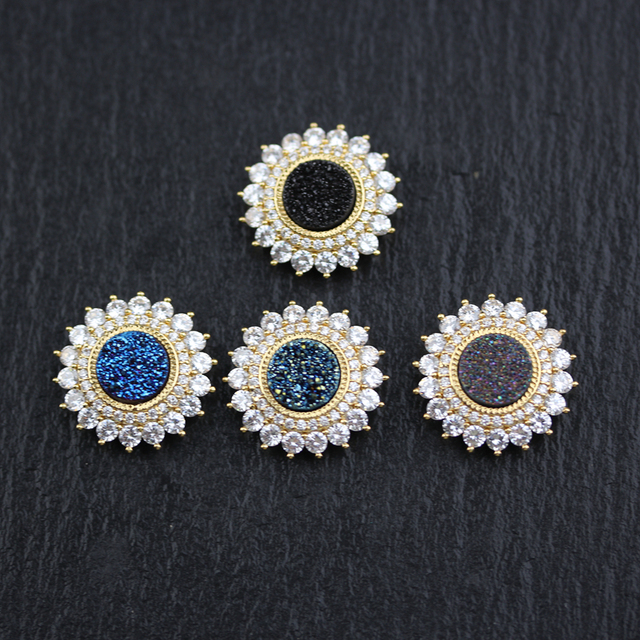 5PCS,Mixed Colors Druzy Achate Coin Shape Charms Findings,Golden Plated Flower Shape Inlay Zircon CZ Accessory Jewelry Crafts