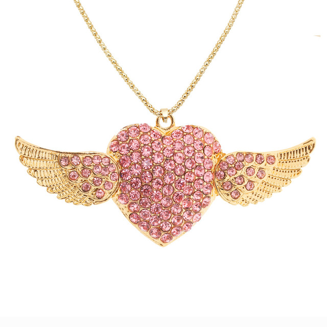Linnor exquisite angel heart wings pendant pink crystal gold alloy linnor exquisite angel heart wings pendant pink crystal gold alloy rhinestone necklase for women wedding necklace aloadofball Choice Image