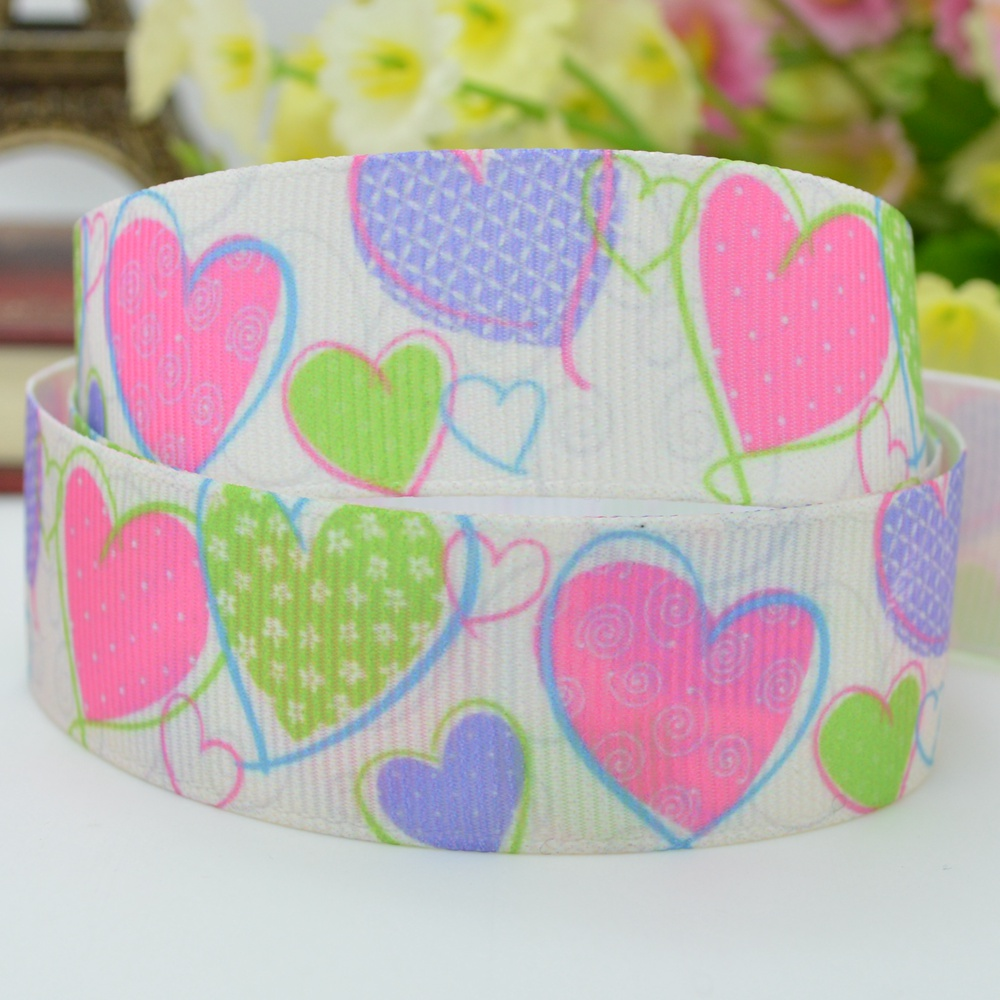 Love ribbed card DIY bow material wholesale 22mm print grosgrain ribbon 7/8 hairbow birthday gift paking