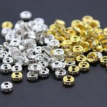 100 шт./лот, золотой, серебряный цвет, размер 6 мм, 8 мм, Кристалл, горный хрусталь, круглые бусины, свободные разделительные бусины для DIY ювелир...