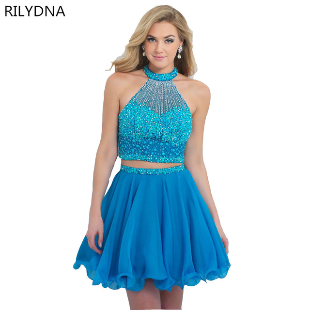 c1f37bf118d92 pink blue Homecoming Dresses Sheer Back Appliques Ball Gown Two Pieces  Graduation Dress Puffy Short Prom Gowns vestido renda-in Homecoming Dresses  ...