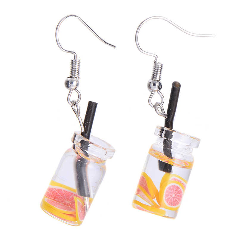 Lovely Fruit Milk Tea Drink Charm Bottle Resin Drop Earrings Fashion Candy Color Yellow Lemon Cup Dangle Earring for Women Hot