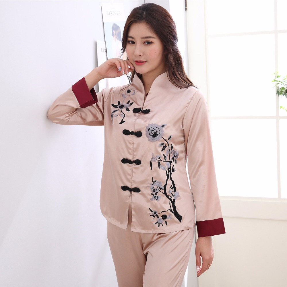 Plus Size XXXL Lady Sexy Rayon Pyjamas Suit 2 pcs Shirt &Pant Sleepwear Novelty Embroidery Chinese Women   Pajama     Set   Flower