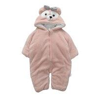Fashion Babies Warm Rompers Cute Cotton Boy Girls Winter Soft Cotton Cloth Children Jumpsuits Plus Velvet Thickening Top Selling