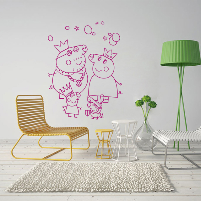 Pink Pig Wall Stickers Babyroom Decal Cute Cartoon Portrait Home Decor For Kids Rooms Poster Appliances