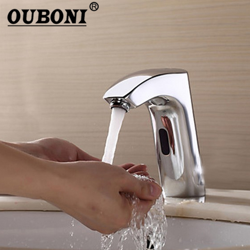все цены на OUBONIBathroom Automatic Hands Touch Free Sensor Faucets Water Tap Basin Chrome 89000 Brass Sink Mixer Tap Faucets,Mixer Tap