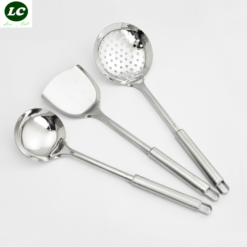 free shipping 3pcs stainless steel spoon spatula colander set <font><b>inox</b></font> handle <font><b>tools</b></font> set cooking <font><b>tools</b></font> <font><b>kitchen</b></font> utensil image