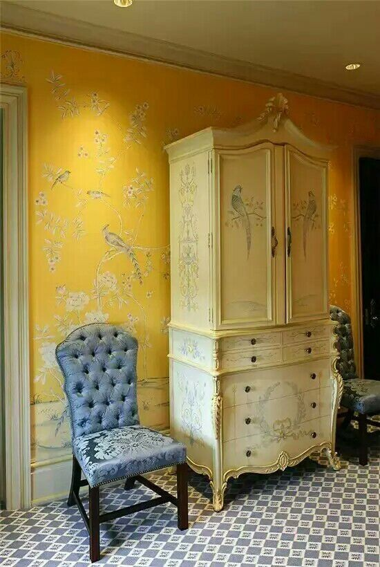Классический стиль Элегантный Ручная роспись шелковые обои цветы с птицами ручная роспись широкий выбор мотивов и фона опционально