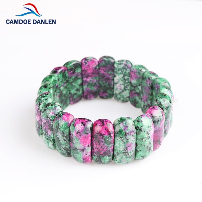4 Design Mode Högkvalitativt naturligt rött grönt stenarmband bian charmarmband armband unisex för kvinnor män smycken gåva