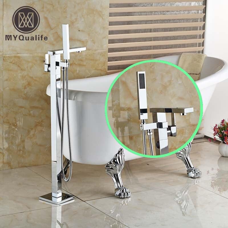 Bathroom Chrome Finish Freestanding Bath Tub Filler Faucets Floor Mounted Single Handle Mixer Taps