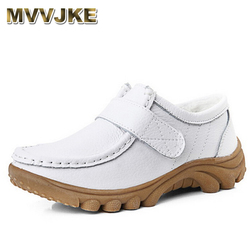 Mvjke mulheres sapatos planos de couro genuíno macio mãe sapatos conforto sapatos casuais femininos outono enfermeiras sapatos femininos apartamentos