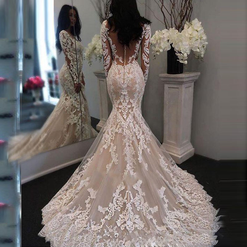 2019 New Lace Vestido De Noiva Mermaid Long Sleeve Wedding Dresses Illusion Lace Sexy V Neck Bridal Gowns Custom Made
