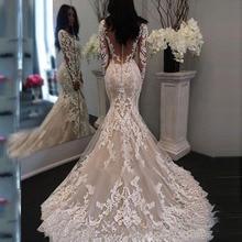 New Lace Vestido De Noiva Mermaid Long Sleeve Wedding Dresses 2020 Illusion Lace Sexy V Neck Bridal Gowns Custom Made