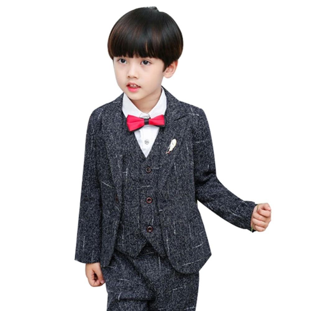 цена Boy Gentleman Suit Formal Wear 5PCS Set Wedding Party Suit Kid Wedding Party Suits Blazer Costume Garcon Formal Wears H265