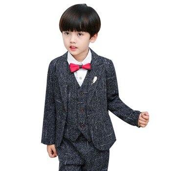 Boy Gentleman Suit Formal Wear 5PCS Set Wedding Party Suit Kid  Wedding Party Suits Blazer Costume Garcon Formal Wears H265