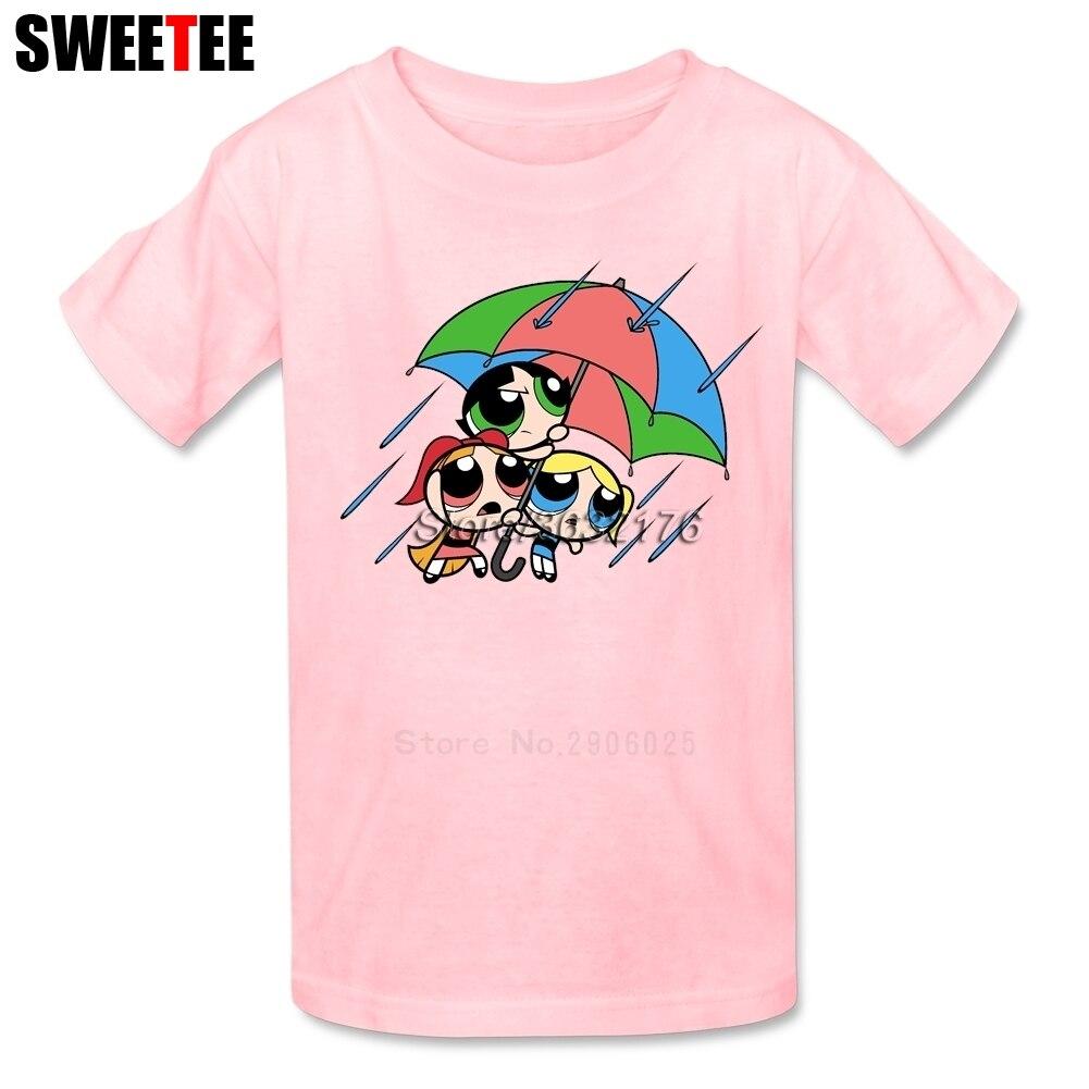The Powerpuff Girls childrens T Shirt 100% Cotton Short Sleeve Crew Neck Tshirt Tops Boys Girls 2018 Fun T-shirt For Kids