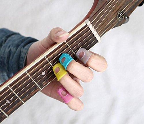 1 set 8 pieces guitar fingertip protectors silicone finger guards for ukulele m size send at. Black Bedroom Furniture Sets. Home Design Ideas