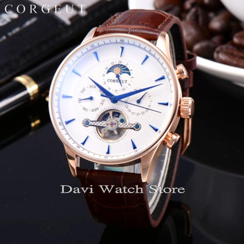 Corgeut 44mm Rvs Rose gold Case Maanfase Datum Dag Heren Automatische heren horloges