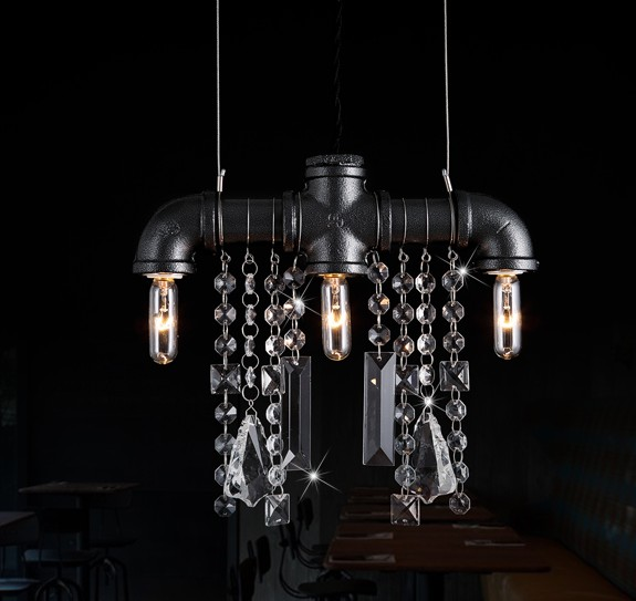 Loft Style Water Pipe Lamp Edison Crystal Pendant Light Fixtures Vintage Industrial Lighting For Dining Room Lamparas Colgantes