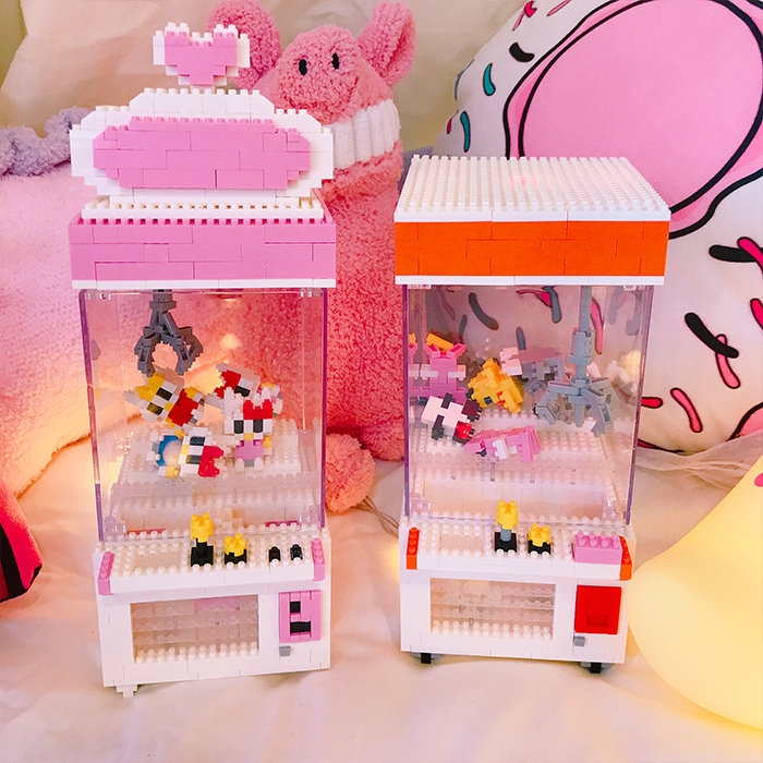 Love Miniature DIY Diamonds Mini Assembling Building Block Toys Folder Catch Doll Machine Animal Model Clamp Decoration Gift