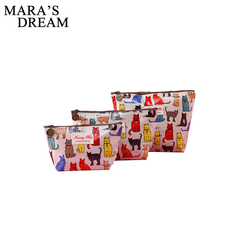 Mara's Dream 2019 Fashion Small Cat Printting Women Waterproof Cosmetic Bags Make Up Travel Toiletry Storage Box Makeup Bag