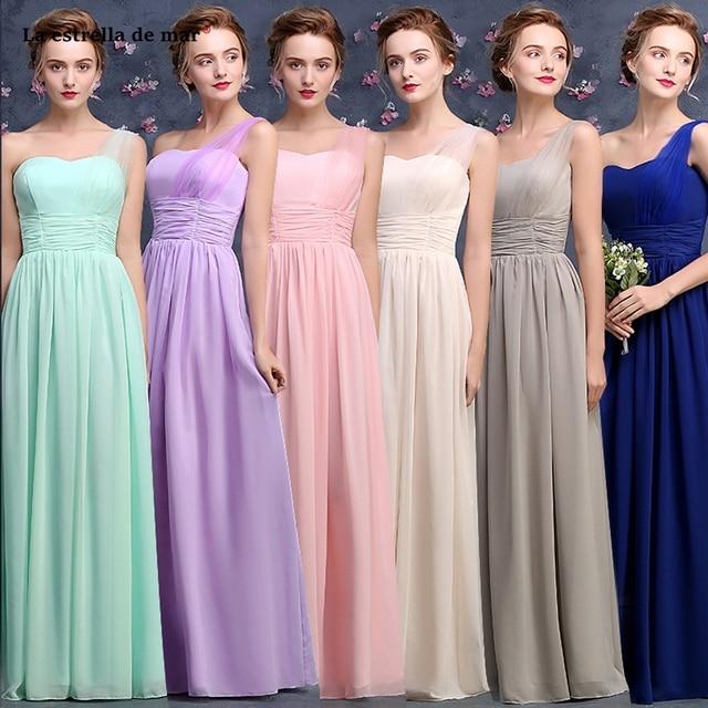 e5a6f9bde4a Robe demoiselle d honneur new chiffon and tulle one shoulder a Line mint  green light purple royal blue bridesmaid dresses long