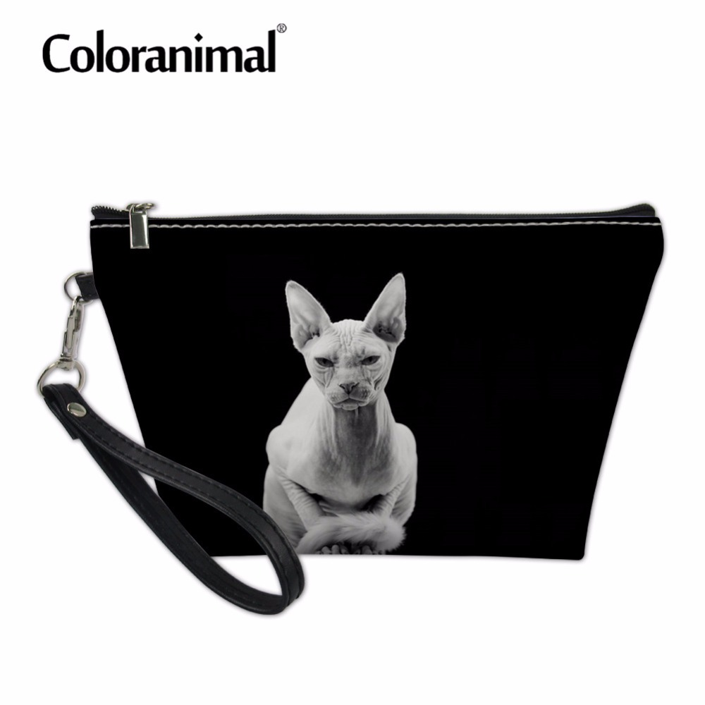 Coloranimal Cosmetic Bags & Cases For Women Makeup Functional Bag Travel Organize Make Up Pouch Canadian Hairless Cat Makeup Bag