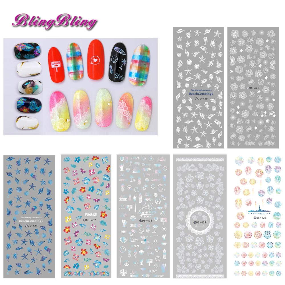 2 sheets New Various Water Transfer Nail Sticker Seashell Lavender Flower For Nail Art Decorations Manicure Nail Slider Decals nail clipper cuticle nipper cutter stainless steel pedicure manicure scissor nail tool for trim dead skin cuticle