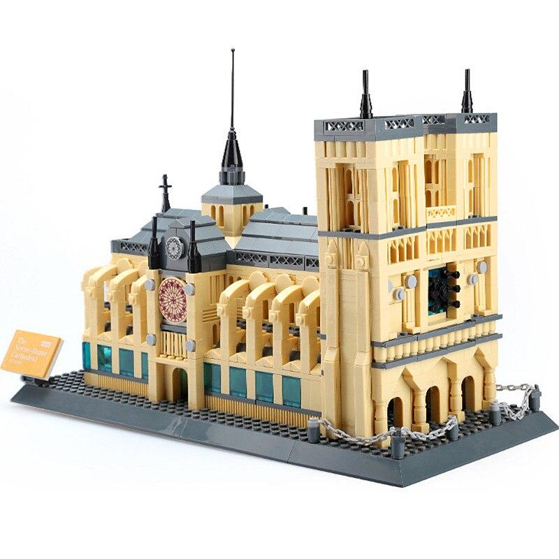 WANGE 5210 Architecture Notre-Dame De Paris Building Blocks Sets City Bricks Classic Skyline Model Gift Toys Compatible