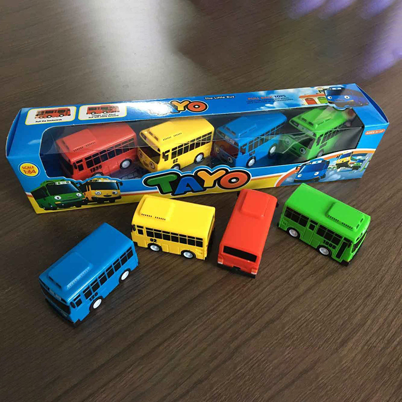 Image 2 - Fun 4pcs/set Tayo the Little Bus Mini Plastic Pull Back Blue Tayo Red Gani Yellow Lani Green Rogi Bus Car Model for kids Gift-in Diecasts & Toy Vehicles from Toys & Hobbies