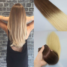 Grade 8A 7Clips/120g Ombre Blonde Clip In Hair T#4/613 Blonde Brazilian Human Straight Virgin Clip In Hair Extension Thick End