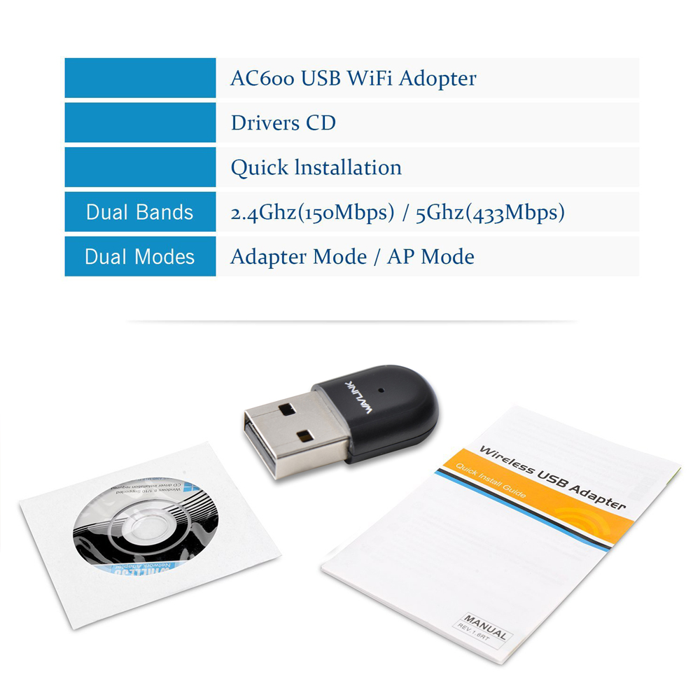 Wavlink USB2.0 AC600 USB wifi dongle Wifi Adapter Dual Band 2.4G / 5G - Peralatan jaringan - Foto 6