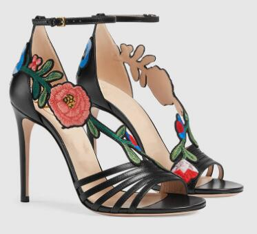 Punta De oro Las Asombrosas Ladies'dress Super High Negro Para Flores Abierta Thin Zapatos Tobillo Correa Negro Sandalias Mujeres Oro Mujer CwqXfg