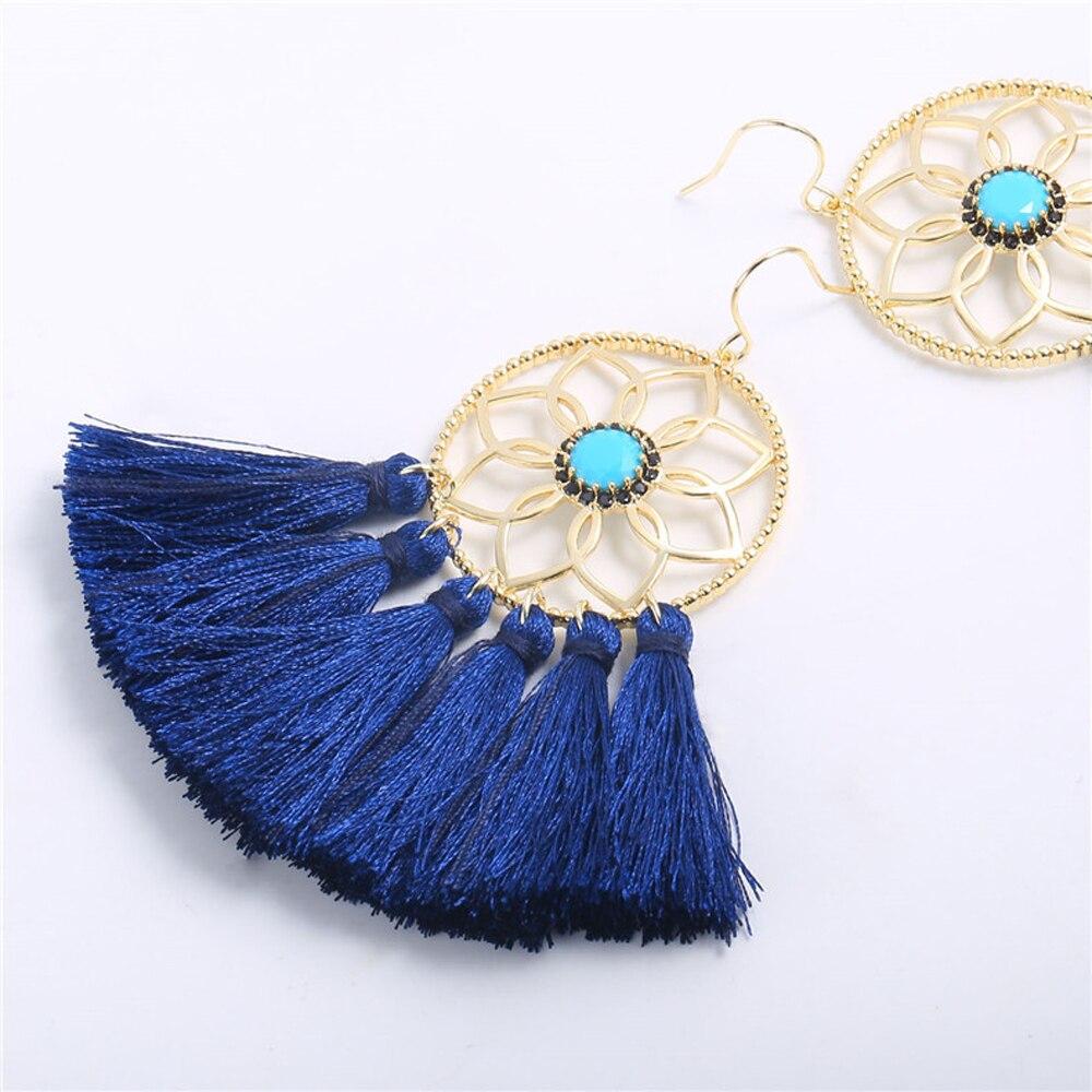 2019 Hot Sale Bohemian fan-shaped tassel earrings Dreamcatcher trendy ladies pendant