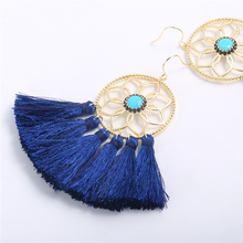 2019 Hot Sale Bohemian fan-shaped tassel earrings Dreamcatcher trendy ladies pendant