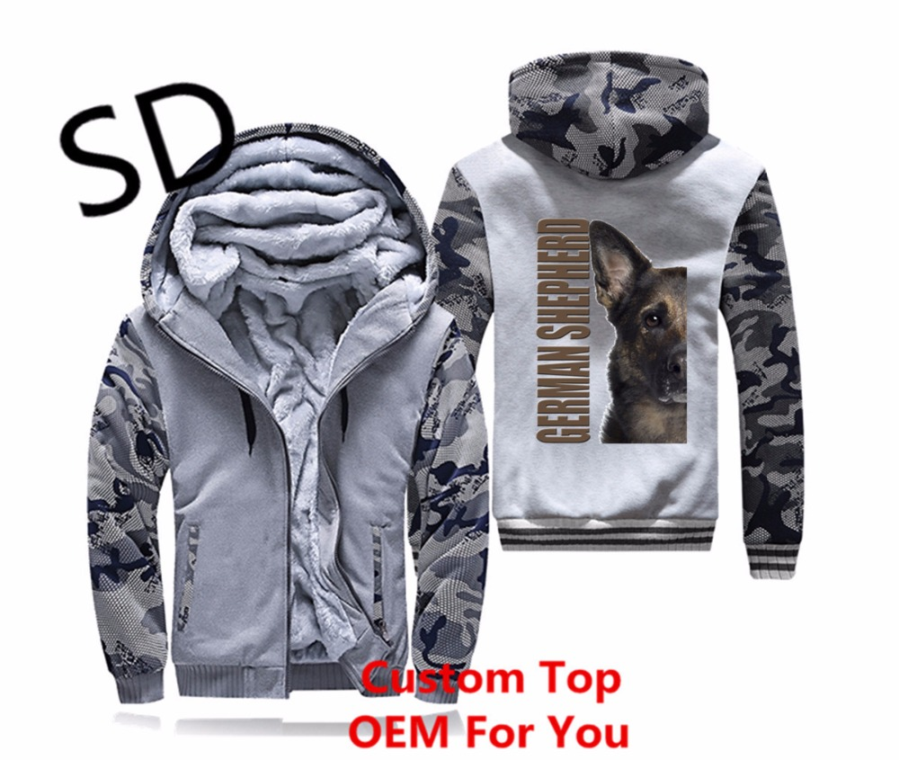Dropshipping 3D Hoodies Hommes Berger Allemand Sweat Hommes d'hiver veste camouflage hommes Manteau moletom masculino Chien À Capuche Tops